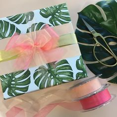 "25 Likes, 2 Comments - The Wrapping Paper Company (@wrapco) on Instagram: ""Monstera giftwrap with nude belli-band tied with gorgeous sheer floaty organza in nude & blush.…"""