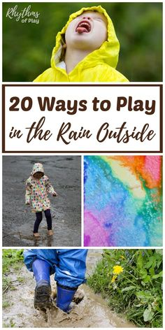 Rainy day activities don't have to be inside! There are many fun ways to play in the rain outside and lots of learning opportunities available outdoors on rainy days. You can make music, art, engage the senses, practice gross motor and fine motor skills, Rainy Day Activities For Kids, Rainy Day Fun, Outside Activities, Gross Motor Activities, Weather Activities, Printable Activities For Kids, Nature Activities, Outdoor Activities For Kids, Steam Activities