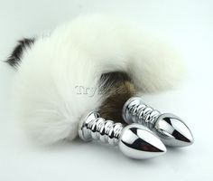 $13 WHITE FOX TAIL WITH STAINLESS STEEL SILVER SPIRAL ANAL PLUG | TRYFM.COM Worldwide Free Shipping Cat Wolf Kitten Fox Play butt plug anal sex