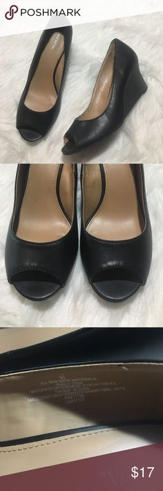 "Merona Peep Toe Wedge Heel Pumps 8 1/2 Black Shoes Merona Faux Leather Wedge Heel Pumps 8 1/2 Black women's. Perfect for vegan life! Look like leather, but aren't! Approx 3"" heel height - peep toe. Perfect for the office & sexy at the same time. Worn few times. Great condition. Merona Shoes Wedges"