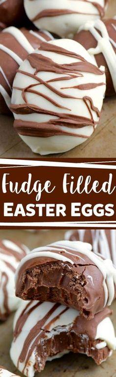 Huevos de Pascua de Chocolate rellenos de fudge.
