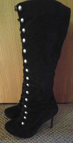 a4a1047a2f6941 Black Silver Military Anne Michelle Addiction 61 Knee High Boots Size 8.5