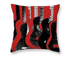 Guitar Art Pillow Red And Black Art Music Room Decor