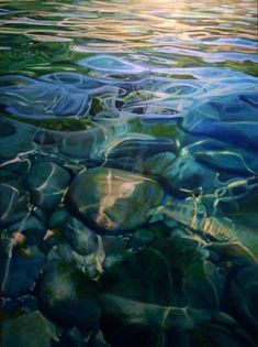 "Water. 36"" x48"" acrylic painting Artist Michelle Courier"