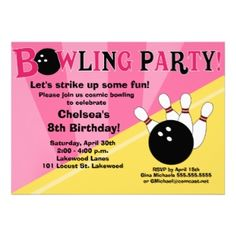 Shop Bowling Party Invitation Girls Bowl Party created by allpetscherished. Pink Invitations, Invitation Design, Custom Invitations, 8th Birthday, Birthday Parties, Birthday Ideas, Bowling Birthday Invitations, Some Fun, Rsvp