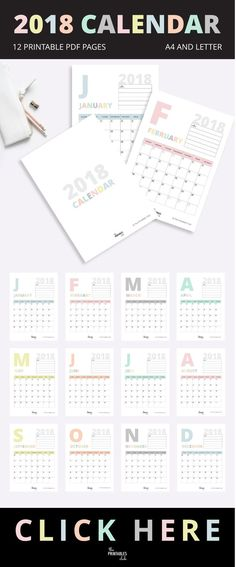 Minimal Style Pastel Printable 2018 Calendar with a page per month.