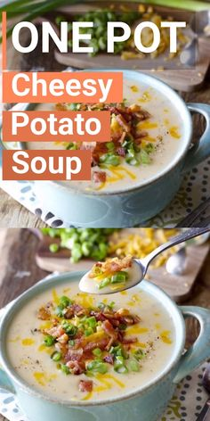 This Cheesy Potato Soup is a one pan, 30 minute meal! This gluten free comfort food is one your entire family will love! Top this cheesy potato soup with bacon and green onions!  #glutenfree #soup