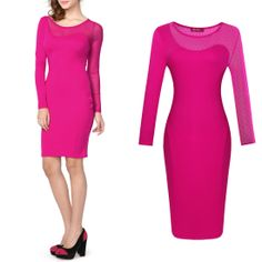 New Rose Pink Sexy Neon glow Mesh With Polka Dot bodycon Pencil Elegant Dress Features: Intro: Round neck, Soft and Comfortable Fabric.Office Business dress,Above knee Color: Rose red Material: 70%Rayon+25%Polyester+5%Spandex Package:  1 x Dress (other accessories on pictures are NOTincluded.) US SIZE: 4-10 www.apuremall.com