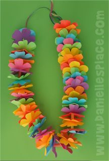 Hawaiian Lei Craft with Printable Flower Pattern from www.daniellesplace.com