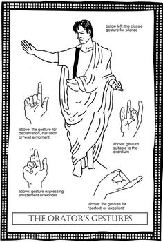 commonly used hand gestures of ancient Rome and Greece used in oratory and rhetoric; often co-opted by Orthodox iconographers in their depictions of Christ, His Saints, and the Angels.