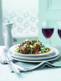 Greek summer lamb stew with feta