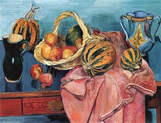 "Hans Purrmann - ""Still Life of Fruit and Mugs"". Hans Marsilius Purrmann was a German artist. He was born in Speyer where he also grew up. He completed an apprenticeship as a scene painter and interior decorator, and subsequently studied in Karlsruhe and Munich before going to Paris in 1906."