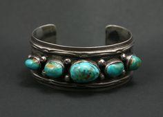 Navajo Blue Gem Turquoise and Silver Bracelet circa 1940