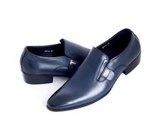Black/Blue Fading Leather Loafers