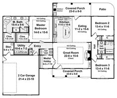 First Floor Plan of Country   European   Traditional   House Plan 59106