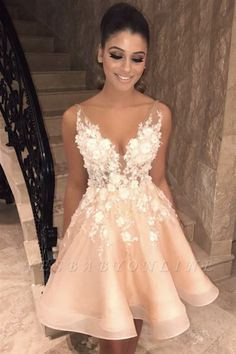 Sexy Spaghetti Straps V Neck Homecoming Dress Chic Appliques Flowers Cheap Short Homecoming Dress Hoco Dresses, Dance Dresses, Pretty Dresses, Sexy Dresses, Summer Dresses, Dress Outfits, Wedding Dresses, Formal Dresses, Romantic Dresses