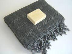 Handwoven Bath Towel Vintage Style, Special Natural Soft Cotton, Turkish Peshtemal, Dark Gray / From the Anatolian Etsy shop