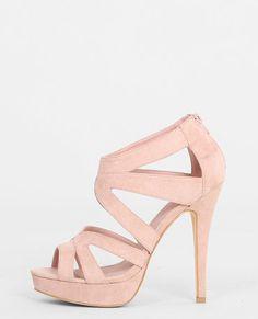 Sandales à talon multibrides rose poudré
