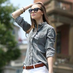 69c4afccc3a Veri Gude Ladies Corduroy Blouse Plaid Patchwork Design