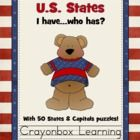 This packet includes 2 learning center games:1. 50 States I Have, Who Has (featuring a Center Sign and game cards for all 50 states).2. 50 Stat...