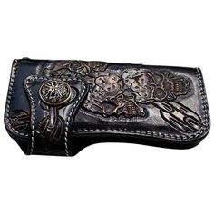 FLAME 925 SILVER GENUINE COWHIDE LEATHER MENS MOTORCYCLE BIKER WALLET NEW BLACK