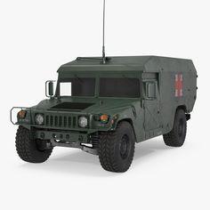 Ambulance Military Car HMMWV m996 3d model