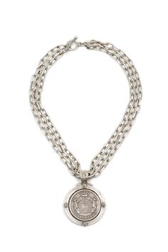 """16"""" triple strand of antiqued sterling silver-clad elongated single cable chain with FK crystal cabochon bezel and Cuvee Royall medallion by French Kande"""