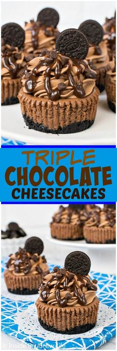 Mini Triple Chocolate Cheesecakes - putting chocolate into every layer of these mini cheesecakes makes them absolutely dreamy! Great recipe for chocolate lovers! #chocolate #cheesecake #chocolatelovers #Oreocookies #minidesserts #recipe #dessert
