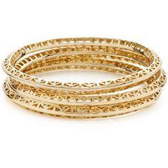 Set Of 3 Geometric Cutout Bangle Bracelets ($45) ❤ liked on Polyvore featuring jewelry, bracelets, accessories, bijoux, pulseira, 14 karat gold bracelet, 14k bracelet, hinged bangle, wide bangle bracelet and wide cuff bracelet
