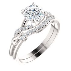 14kt White 6.5mm Round Infinity Engagement Ring Mounting. Locate a Jeweler Near You: http://www.stuller.com/locateajeweler/