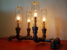 Pipe lamp. Industrial lighting. Desk lamp. Steampunk lamp. Bottle lamp. Upcycled lighting..