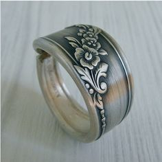Antique Spoon Ring Silver Pattern Queen Bess 2 by Revisions, $21.50
