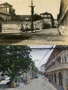 old CALLE REAL  Location: Real St., Intramuros Manila Philippines Wayback 1910  DID YOU KNOW?!  * General Luna, (after General Antonio Luna) was originally called Calle Real by the Spanish colonizers *Today, Calle Real (present name Real Street inside Intramuros manila) Senior Citizen Humor, Then And Now Pictures, Intramuros, Filipiniana, Manila Philippines, Back In Time, Pinoy, Filipino, Monuments
