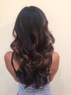 Dark hair black brown brunette balayage hand painted highlights caramel long hair layers and angles