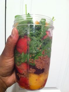 Fruit n Veggie juice made in a #nutribullet #recipe : Kale, spinach, raspberries, flaxseed, peaches, strawberries, and water.  Mix and enjoy.  YuM! Here's to better #health