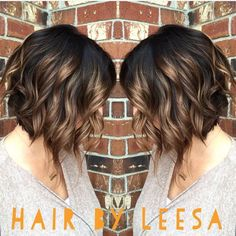 Image result for caramel highlights on dark brown curly hair medium length