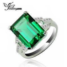 Luxury 5.9ct Created Emerald Cocktail Ring