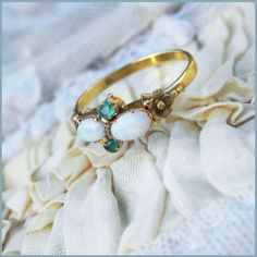 French Hand Made 18K Art Nouveau Emerald Opal Ring