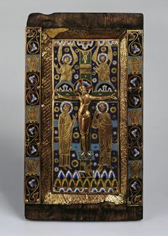 Part of a Book-Cover with the Crucifixion. Place of creation: France. Material: wood, copper and enamel. Technique: cast, stamped, engraved, with champleve enamel and gilding. Medieval Manuscript, Medieval Art, Renaissance Art, Illuminated Manuscript, Parts Of A Book, Romanesque Art, Art Roman, Byzantine Art, Book Of Hours