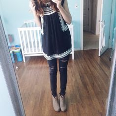 embroidered top and ripped jeans