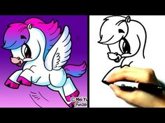 How to draw fantasy animals – pegasus – cute art – drawing tutorials – Cartoon Drawing Tutorial, Drawing Tutorials, Cartoon Drawings, Easy Drawings, Drawing Sketches, Cartoon Illustrations, Drawing Step, Doodle Drawings, Drawing Techniques