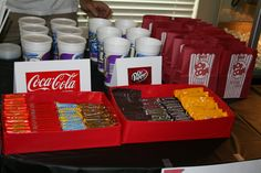 Movie Theater themed birthday party- Concession stand- we bought 20 cups, lids and straws from a gas station for 4 dollars, bought 2L bottles of coke and dr. pepper, and mini candy bars came in a pack of 6 for 1 dollar