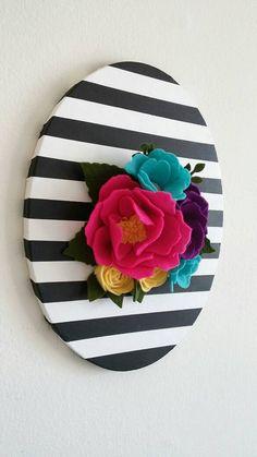 3D Wall Flowers - Felt Wall Hanging - Felt Flower Wall Decor - Floral…