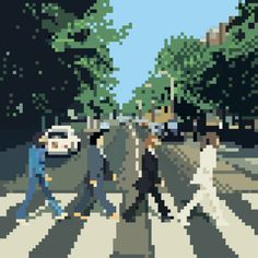 The Beatles 8 bit Cross Stitch Art, Cross Stitching, Cross Stitch Patterns, Diy Perler Beads, Perler Bead Art, Pixel Pattern, Pattern Art, Pixel Art Grid, Pix Art