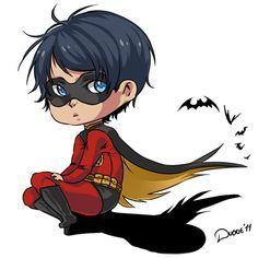 Chibi Robin one of the teen titans Dc Comics, Tim Drake Red Robin, Superhero Villains, Beast Boy, Comic Movies, Batman Robin, Bat Family, Teen Titans, Hunger Games