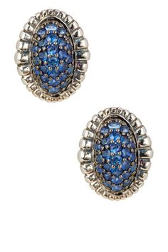 Muse Blue Sapphire Pave Fluted Oval Stud Earrings