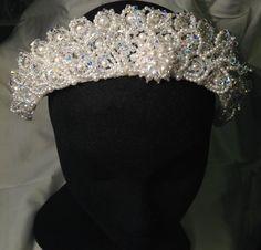 Vintage Crown/Pearl Beaded Crown Tiara/Wedding Bride Bridal Headpiece by icusuezq on Etsy Boutonnieres, Pearl Beads, Crystal Beads, Vintage Headpiece, Silver Tiara, Wedding Bride, Wedding Ideas, Wedding Dresses, Bridal Crown