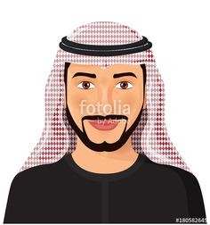 Vector: Arab man avatar face front view in traditional muslim hat cartoon character - vector Illustration