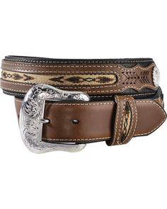 Nocona Ribbon Inlay Leather Belt - Reg and Big - Cowboy Belt Buckles, Cowgirl Belts, Western Belts, Western Wear, Cowboy Boots, Brown Leather Belt, Leather Belts, Leather Men, Ariat Mens Boots