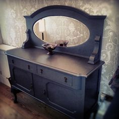 My great Nannas Victorian side board. Upcycled using Farrow and Balls Down Pipe shade 26. Laura Ashley wall paper jossette in dove grey in back ground